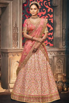 New Designer Heavy Light Peach Handloom Silk Lehenga Choli