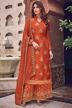 New Designer Orange Color Jacquard Silk Suit For Festival