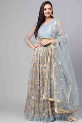 New Designer Party Wear Grey Color Net Lehenga Choli