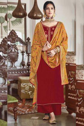 New Designer Red Color Falcon Velvet Party Wear Salwar Suit