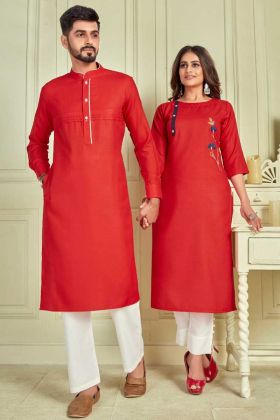 New Designer Red Pure Cotton Couple Combo Kurta With Payjama And Kurti With Pant