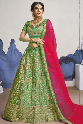 New Designer Satin Silk Embroidered Bridal Lehenga Choli In Green Color
