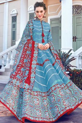 New Designer Soft Silk Sky Blue Color Gown Buy Online Shopping