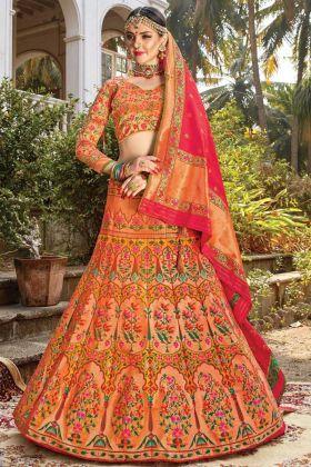 New Designer Wedding Multi Color Silk Lehenga Choli For Bridal