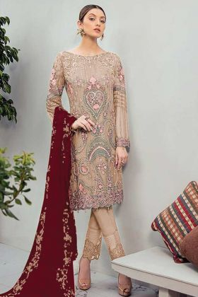 New Ethnic Beige Georgette Stylist Pakistani Suit By Online Shopping