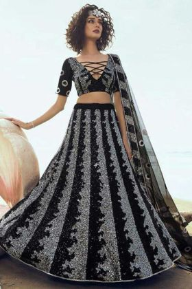 New Ethnic Black Color Soft Net Party Wear Lehenga Choli
