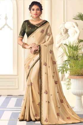 New Ethnic Cream Satin Silk Saree With Contrast Dark Green Blouse