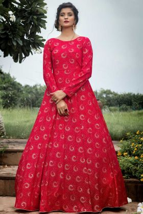 New Ethnic Heavy Georgette Anarkali Suit In Dark Pink Color