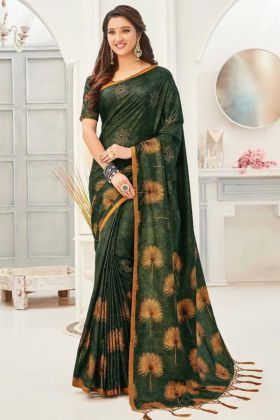 New Ethnic Kanjivaran Silk Saree Collection In Green Color