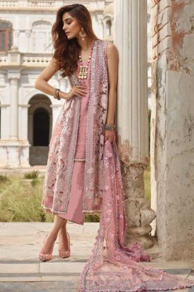 New Ethnic Light Pink Color Embroidered Stylish Pakistani Suit In Net