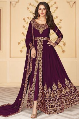 New Exclusive Heavy Embroidered Wine Heavy Georgette Woman Dress