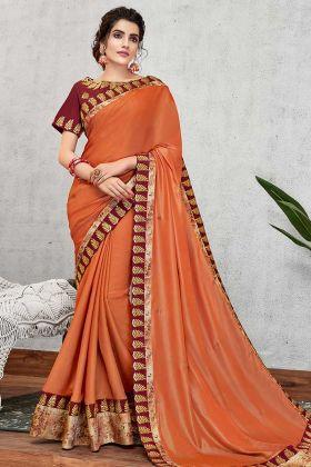 New Fancy Saree Silk Georgette Orange Color