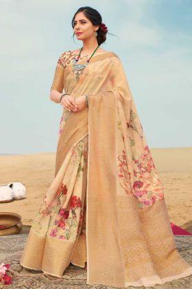 New Fancy Zari Linen Digital Printed Saree In Beige Color