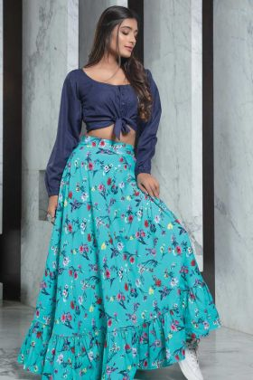 New Fashionable Navy Blue Rayon Top With Turquoise Blue Skirt