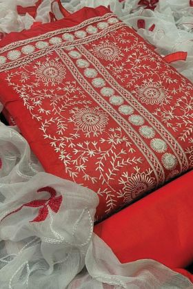 New Festive Ethnic Red Color Cotton Dress Material At 2021