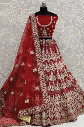 New Heavy Bridal Pure Velvet Lehenga Choli In Red Color