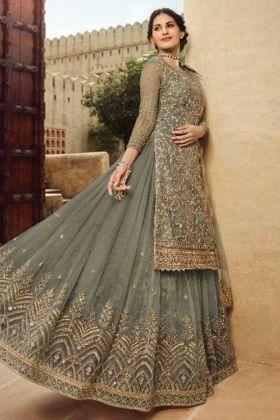 New Lauching Designer Grey Sharara Suit Fabricated On Net