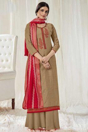 New Launch Designer Light Brown Pure Dola Cotton Salwar Suit