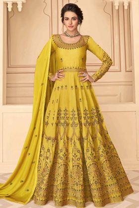 New Launch Lemon Color Pure Silk Anarkali Woman Haldi Dress