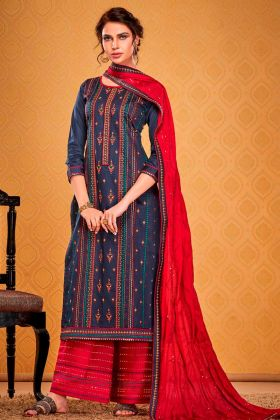 New Launch Navy Blue Cotton Silk Salwar Suit For Party Wear