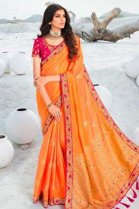 New Launch Orange Saree In Jacquard Silk Fabric