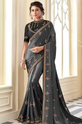 New Launch Satin Silk Saree In Pretty Grey Color With Heavy Work