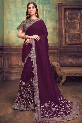 New Launch Silk Georgette Deep Purple Embroidery Work Saree