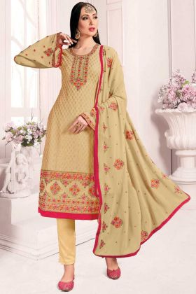 New Launching Beige Color Georgette Designer Salwar Suit