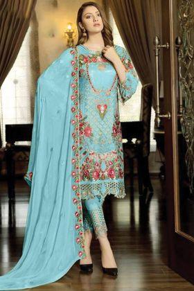 New Launching Blue Color Faux Georgette Pakistani Ladies Heavy Dress