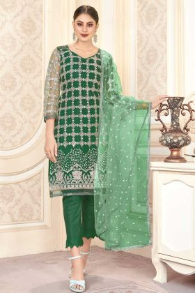New Launching Butterfly Net Green Color Pakistani Salwar Suit