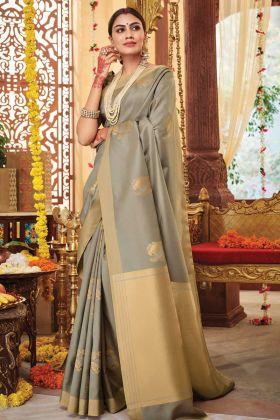 New Launching Design Of Classy Soft Silk Grey Weaving Saree