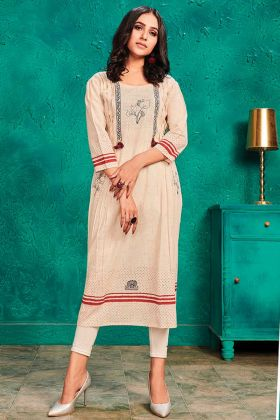New Launching Design Of Cotton Kurti In Cream Color