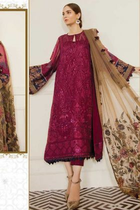 New Launching Heavy Designer Georgette Violet Pakistani Suit