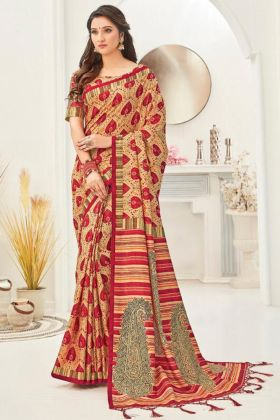 New Launching Kanjivaran Silk Fancy Saree In Cream Color