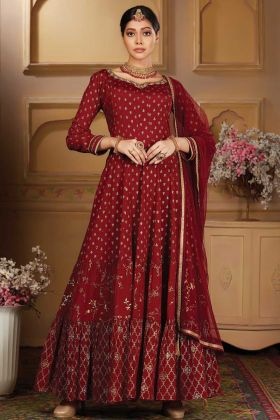 New Launching Maroon Color Chinon Party Wear Anarkali Suit