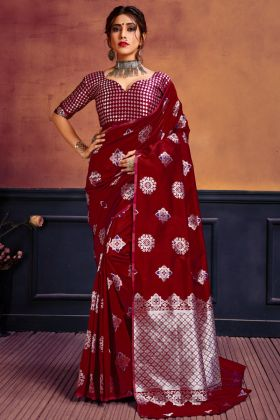 New Launching Maroon Color Lichi Silk Saree For Wedding