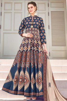 New Launching Navy Blue Printed Gown Fabricated On Soft Silk