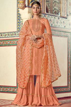 New Launching Orange Viscose Jacquard Sharara Suit For Wedding