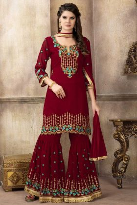 New Launching Partywear Red Color Georgette Sharara Suit