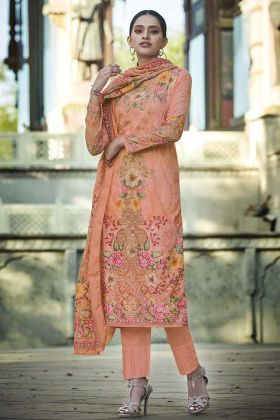 New Launching Peach Color Digital Printed Cotton Palazzo Suit