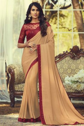 New Launching Peach Color Sunlight Silk Embroidered Saree