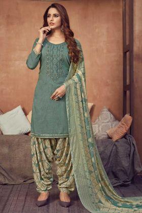 New Launching Sea Green Panjabi Salwar Dress In Viscose Rayon Fabric