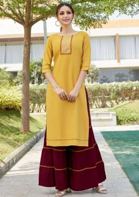 New Launching Stylish Yellow Color Sharara Kurti In Rayon