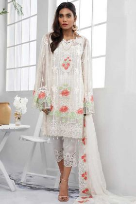 New Launching White Color Georgette Pakistani Style Suit