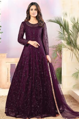 New Launching Wine Color Net Fabric Party Wear Anarkali Suit
