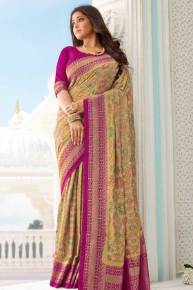 New Party Wear Beige Handloom Silk Saree For Party Wear