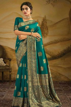New Party Wear Blue Color Jacquard Silk Party Wear Saree