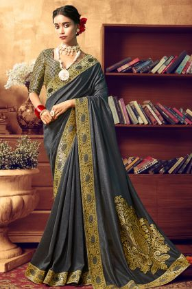 New Party Wear Dark Grey Art Silk Saree For Party Wear