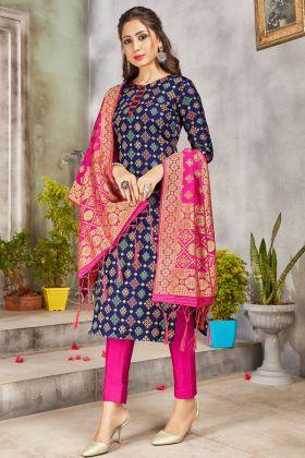 New Party Wear Navy Blue Banarasi Art Silk Party Wear Salwar Suit