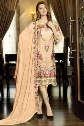 New Presenting Faux Georgette Beige Color Pakistani Style Salwar Suit